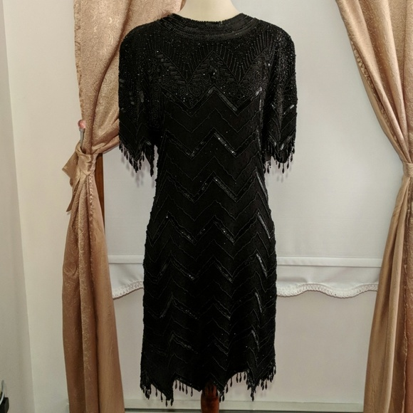 Scala Dresses & Skirts - Scala Hand-beaded Black Cocktail Dress Size XL